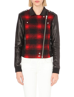 PAIGE DENIM Shelley checked wool-blend and leather bomber jacket