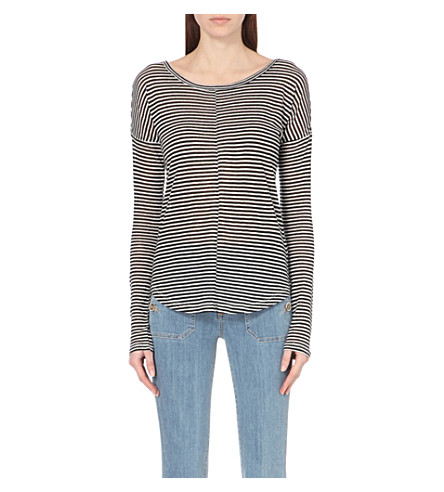 PAIGE DENIM Bess striped top (Black/white