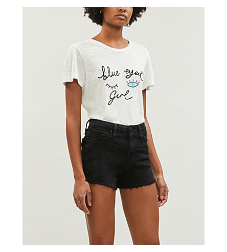 PAIGE Margot high-rise denim shorts (Vintage+black