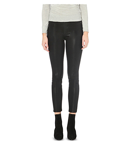 PAIGE DENIM Margot skinny mid-rise coated jeans (Black+silk