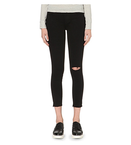 PAIGE DENIM Verdugo skinny mid-rise jeans (Jett+black+destructed
