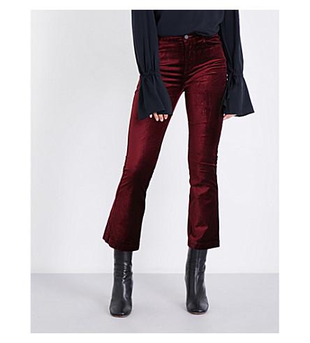 PAIGE DENIM Colette flared high-rise velvet jeans (Majenta