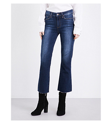 PAIGE Colette frayed-hem flared cropped high-rise jeans (Brookdale