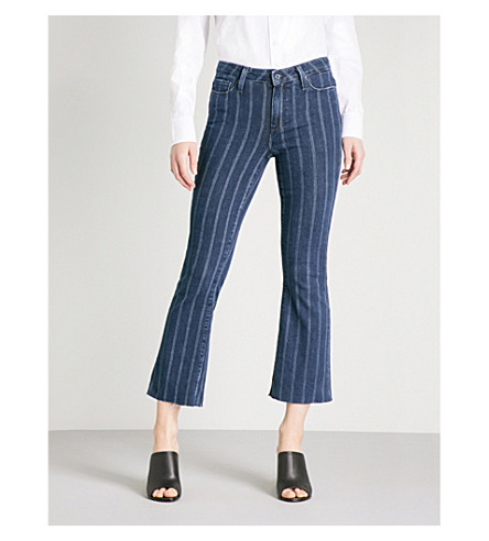PAIGE Colette cropped pinstriped flared high-rise jeans (Vintage+indigo