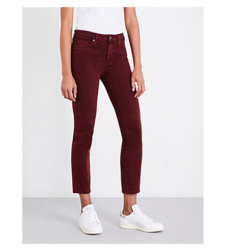 PAIGE Jacqueline straight cropped mid-rise jeans (Vintage+rouge+distressed
