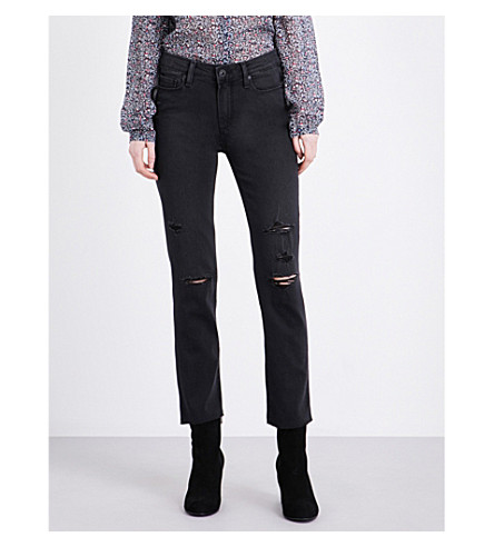 PAIGE DENIM Jacqueline straight high-rise jeans (Carbon+black