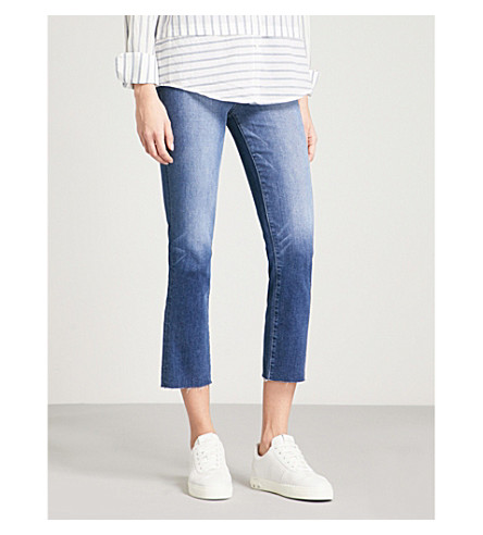 "PAIGE Hoxton Straight Ankle 27"" cropped high-rise jeans (Malibu+raw+hem"