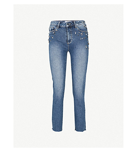 PAIGE Jacqueline straight mid-rise jeans (Naveen+embellished