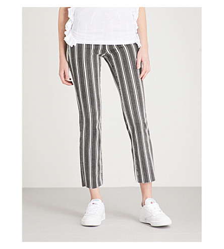 PAIGE Hoxton striped straight mid-rise jeans (Vinatge+black+stripe