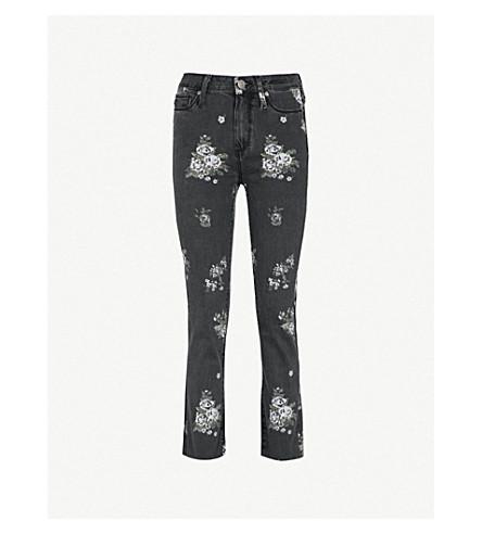 "PAIGE Hoxton Straight 27"" floral-print high-rise jeans (Vintage+floral"