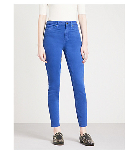 PAIGE Margot Ankle frayed-hem ultra-skinny high-rise jeans (Vintatge+blue+bow