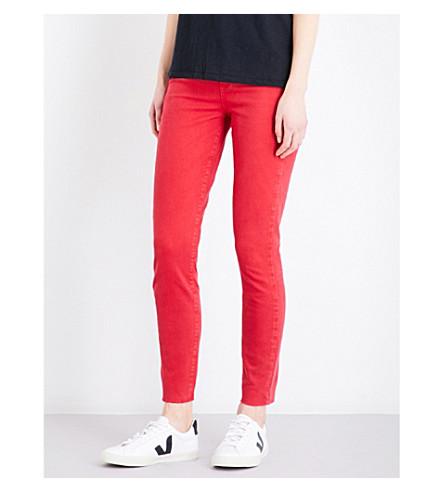 PAIGE Margot Ankle frayed-hem ultra-skinny high-rise jeans (Vintatge+ribbon+red