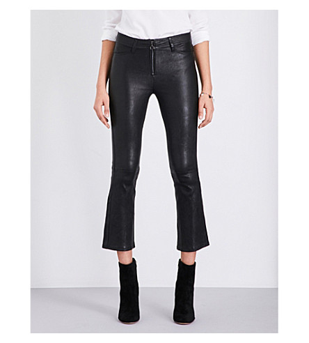 PAIGE DENIM Carine cropped leather jeans (Black