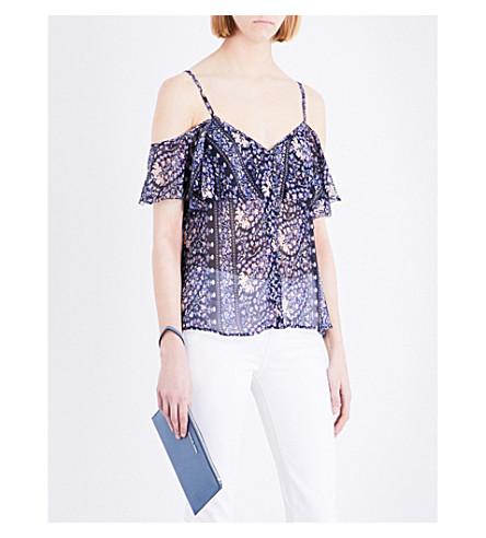 PAIGE DENIM Henna cold-shoulder silk top (Dark+blue+ink+bouquet