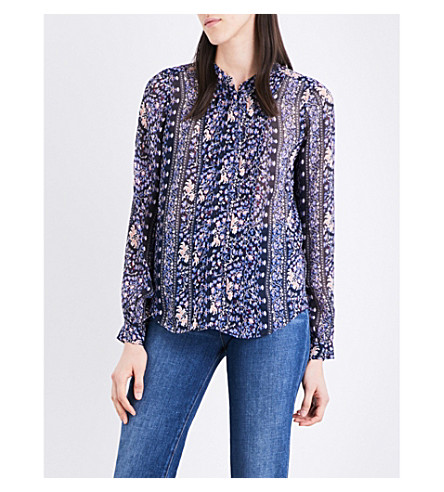 PAIGE DENIM Samita floral silk-chiffon shirt (Dark+blue+ink+bouquet