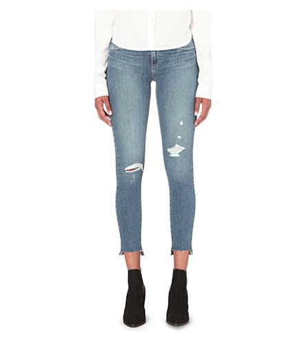 PAIGE Skyline Ankle Peg distressed skinny mid-rise jeans (Gia+destructed