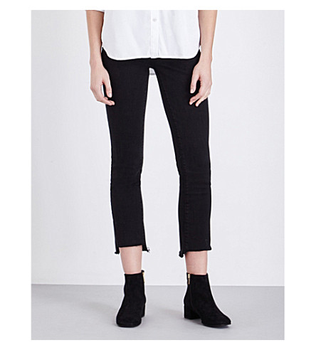 PAIGE DENIM Jacqueline stepped-hem straight high-rise jeans (Vintage+black