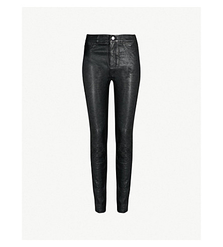 PAIGE Hoxton skinny high-rise leather jeans (Black