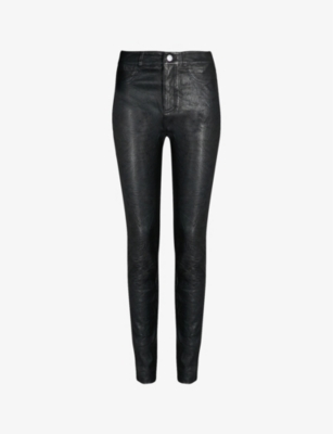 Hoxton skinny high-rise leather jeans