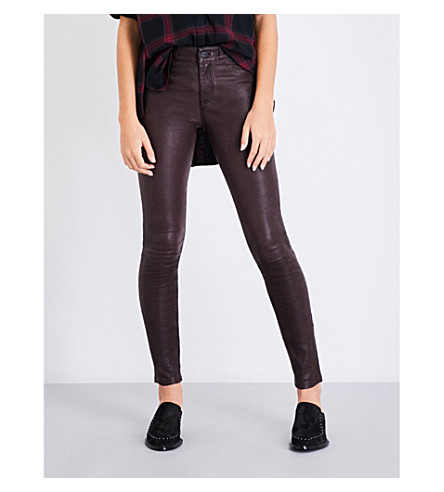 PAIGE DENIM Hoxton skinny high-rise leather jeans (Black+cherry