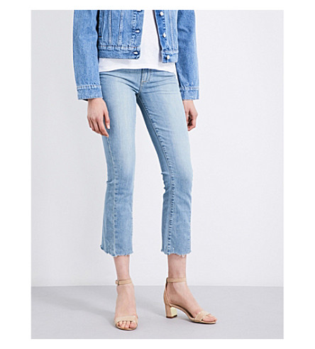 PAIGE Colette frayed-hem flared cropped high-rise jeans (Fina