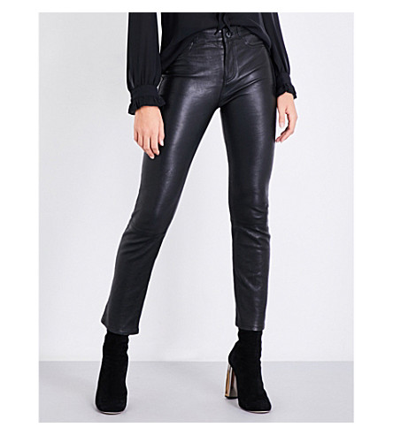 PAIGE Jaqueline straight cropped high-rise leather jeans (Black