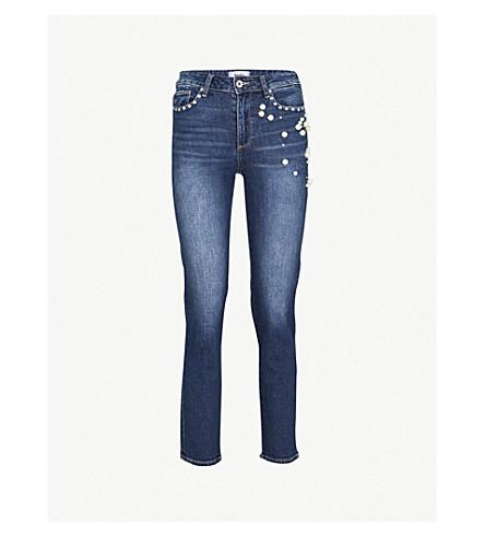 PAIGE杰奎琳直高腰牛仔裤 (珠光 + 靛蓝色