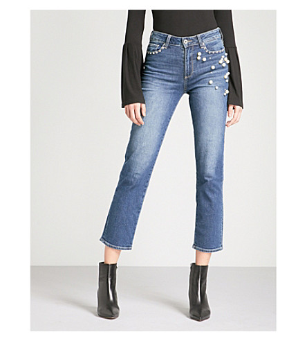 PAIGE Jacqueline straight high-rise jeans (Pearlized+indigo