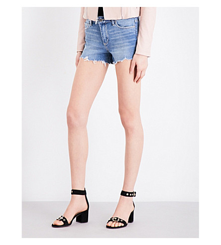 PAIGE Vera frayed-hem distressed stretch-denim shorts (Beacon