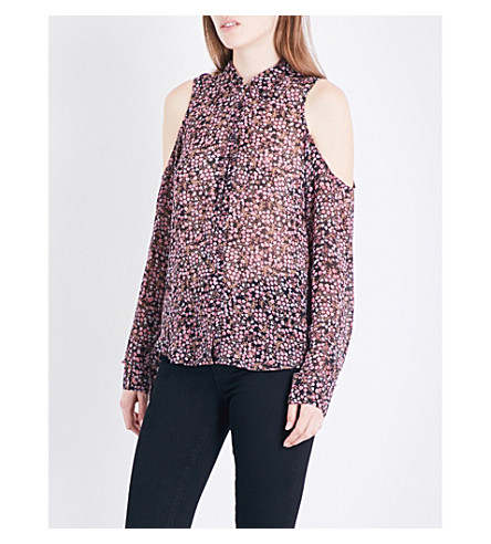 PAIGE DENIM Bellini cold shoulder silk-georgette shirt (Black+multi