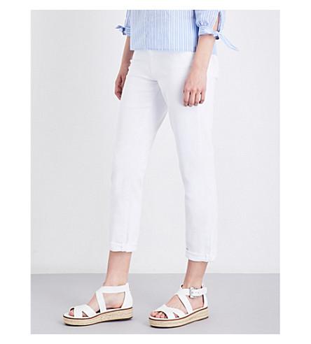 PAIGE DENIM Brigitte boyfriend-fit mid-rise jeans (Optic+white