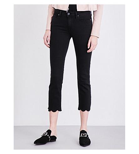PAIGE DENIM Jacqueline scalloped-hem straight mid-rise jeans (Vintage+black