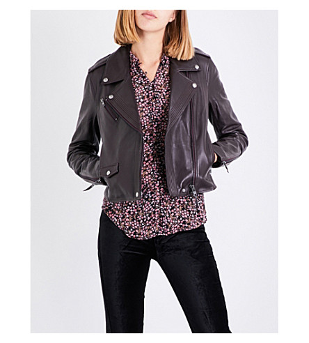 PAIGE DENIM Danette leather biker jacket (Black+cherry