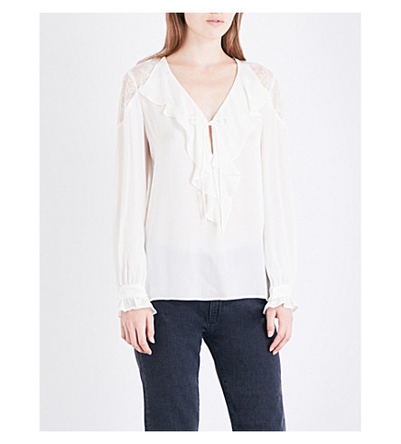 PAIGE DENIM Celesse silk-georgette blouse (White
