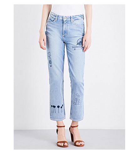PAIGE DENIM Sarah logo-embroidered straight high-rise jeans (Briezy
