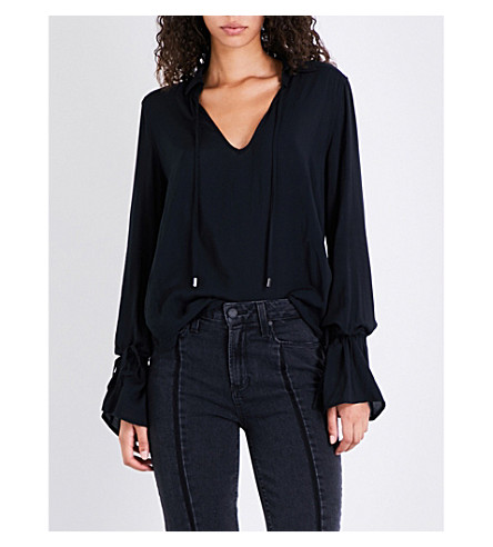 PAIGE Calissa V-neck woven top (Black