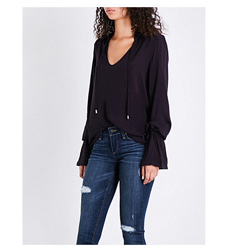 PAIGE Calissa V-neck woven top (Black+cherry