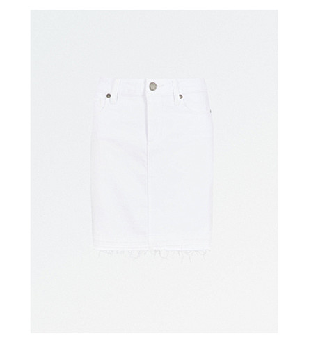 PAIGE Elaina denim mini skirt (Crisp+white