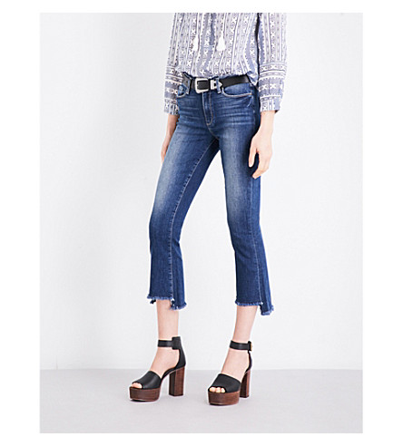 PAIGE Colette stepped-hem flared cropped high-rise jeans (Blake