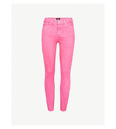 PAIGE Hoxton distressed skinny jeans (Vintage+hot+pink