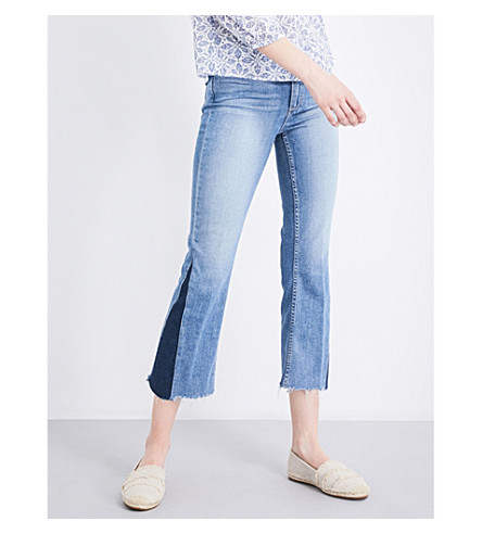 PAIGE Colette frayed-hem flared cropped high-rise jeans (Rudy+distressed