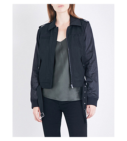 PAIGE DENIM Sheryl twill and shell bomber jacket (Black