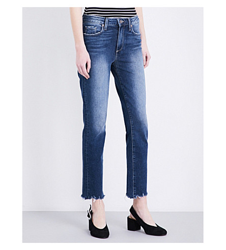 PAIGE DENIM Jacqueline frayed-hem straight jeans (Trist+distressed