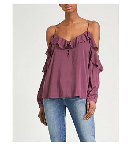 PAIGE Arabeth cold-shoulder woven blouse (Mauve+wine