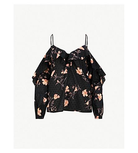 PAIGE Arabeth cold-shoulder cotton blouse (Black/desert+sunrise