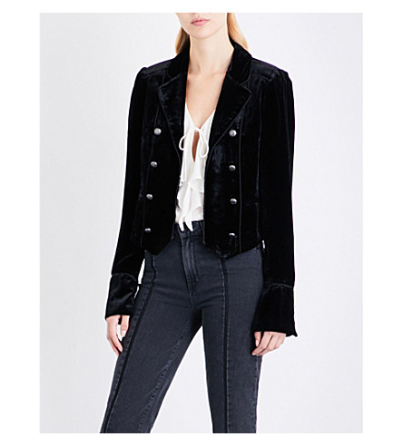 PAIGE DENIM Maribel velvet jacket (Black+velvet