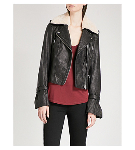 PAIGE Rhoda leather biker jacket (Black