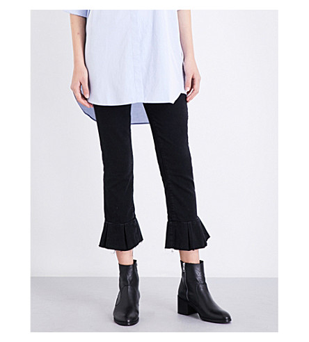 PAIGE Rafaela pleated-hem tapered mid-rise jeans (Black