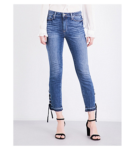 PAIGE DENIM Jacqueline lace-up straight high-rise jeans (Lacey+indigo