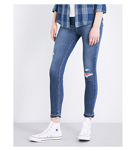 PAIGE Hoxton Crop released-hem skinny high-rise jeans (Lexi+destructed